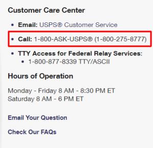 usps phone number