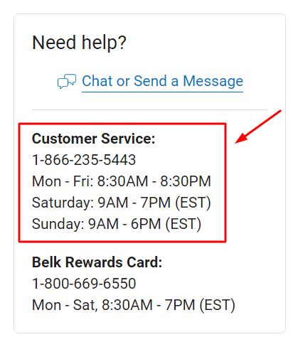 belk phone number